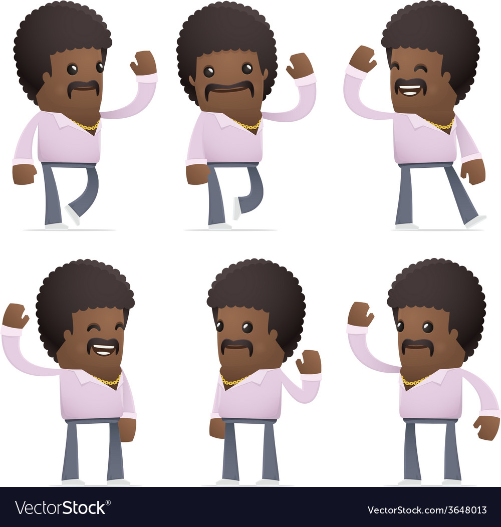 Set of disco man character in different poses vector | Price: 1 Credit (USD $1)