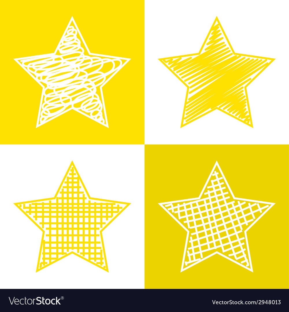 Set of hand drawn stars vector | Price: 1 Credit (USD $1)