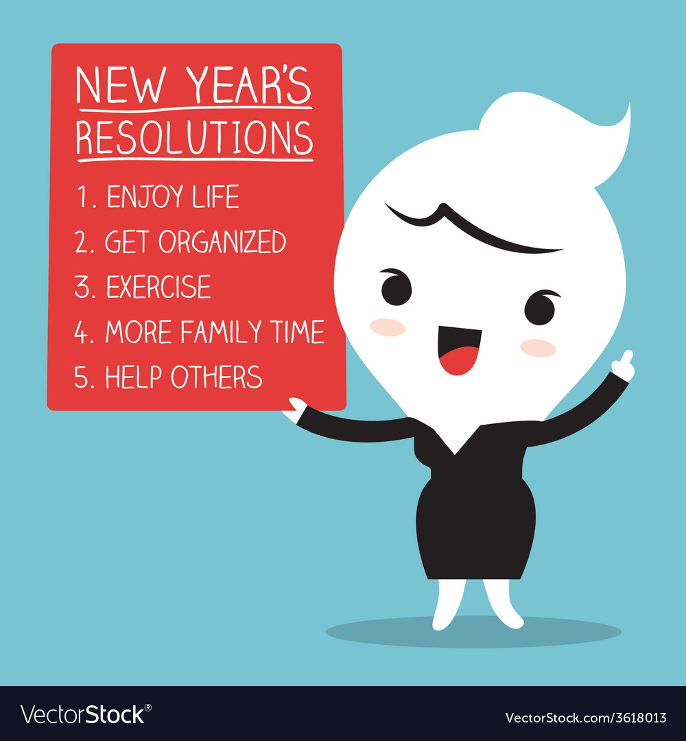 Smiling businesswoman with new year resolutions vector | Price: 1 Credit (USD $1)