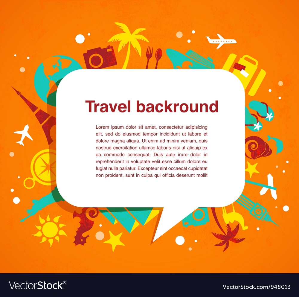 Travel background with speech bubble vector | Price: 1 Credit (USD $1)