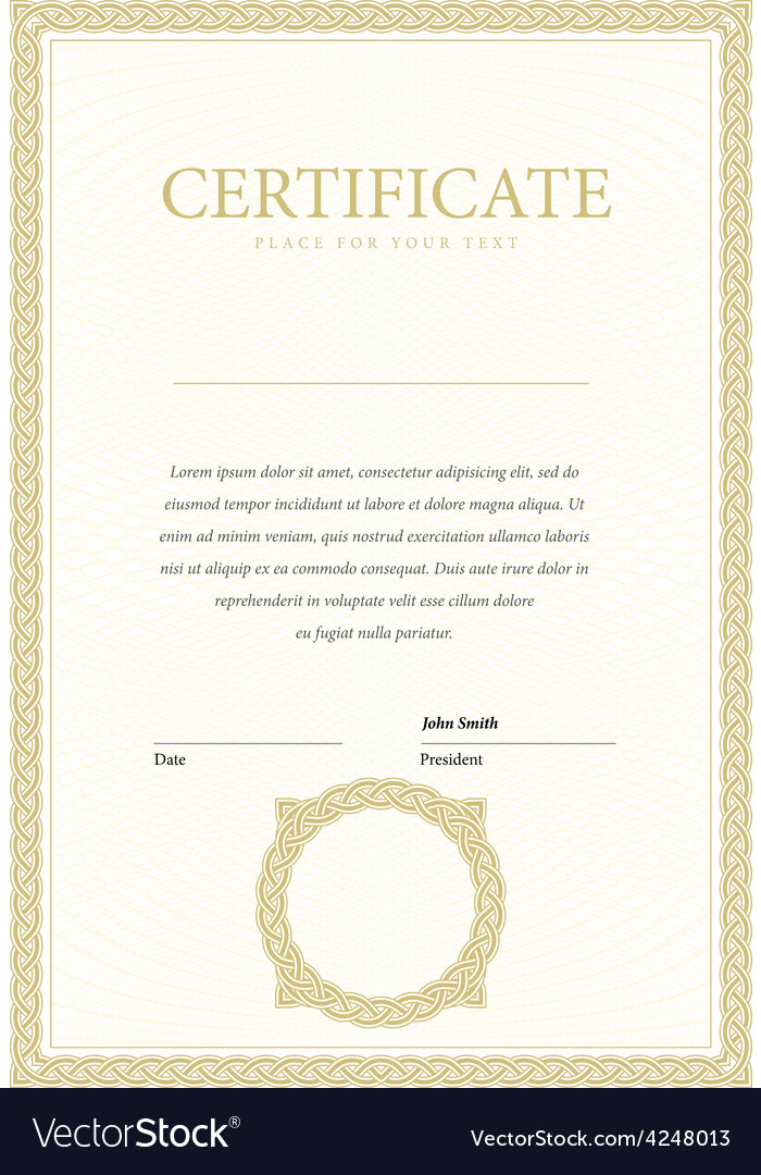 Vertical template certificate and diplomas vector | Price: 1 Credit (USD $1)