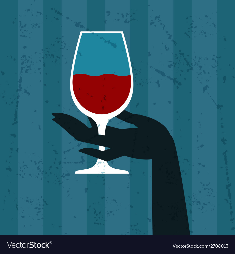 With glass of wine and hand vector | Price: 1 Credit (USD $1)