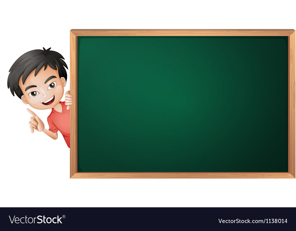 A boy and a green board vector