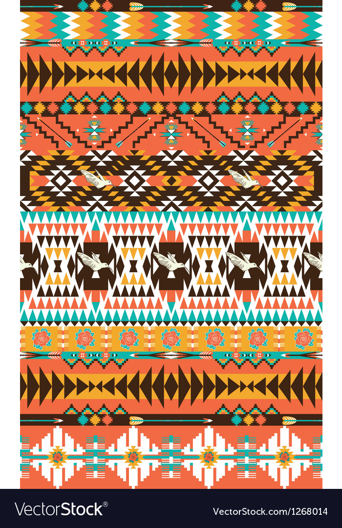Aztecs seamless pattern on hot color with bird vector | Price: 1 Credit (USD $1)