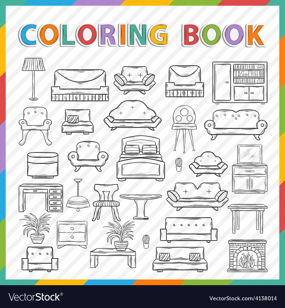 Coloring bookhome interior vector | Price: 1 Credit (USD $1)