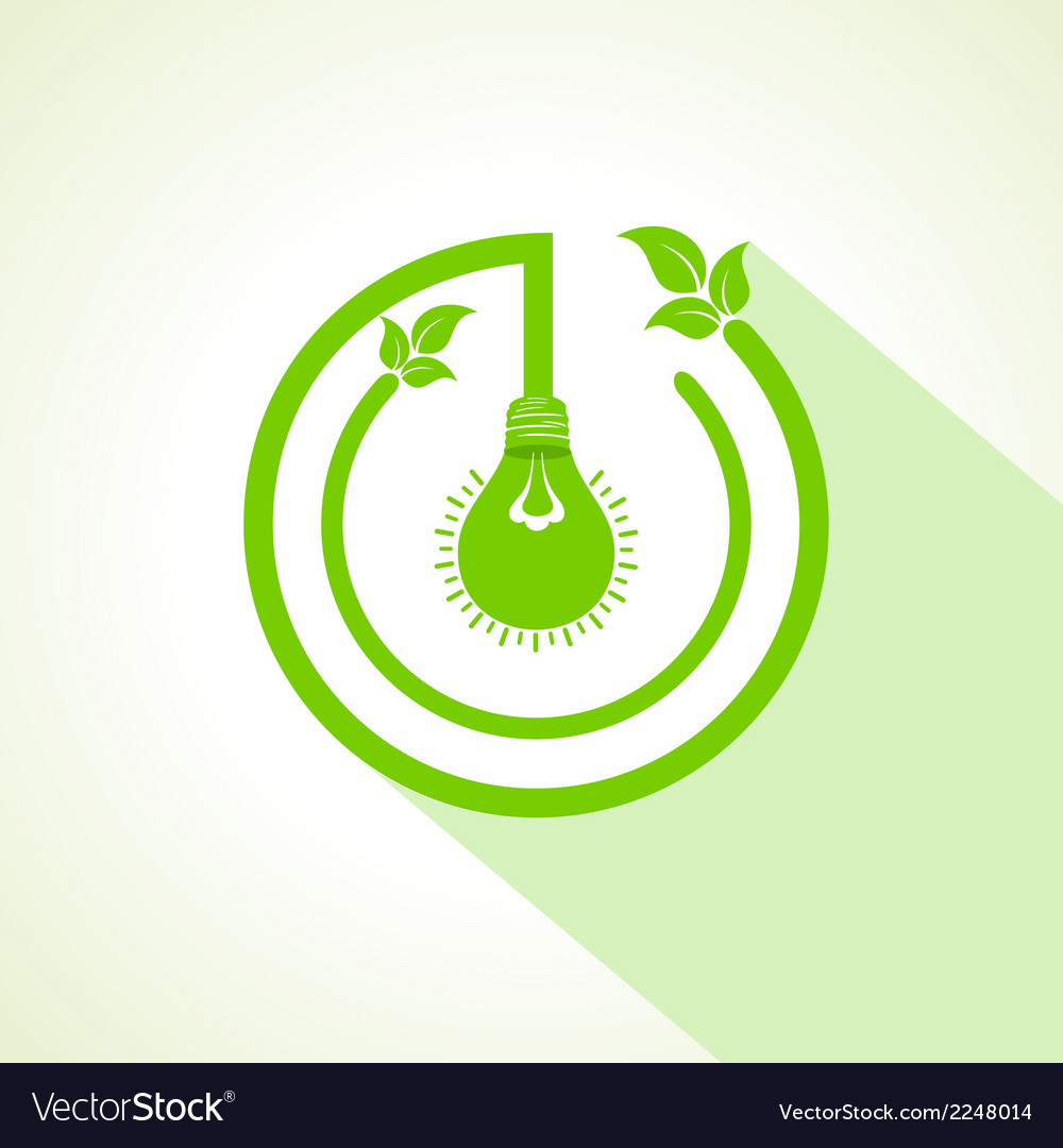 Eco bulb with and leaf vector | Price: 1 Credit (USD $1)
