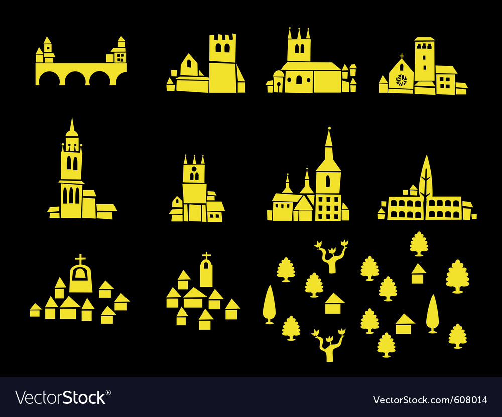 Icons of castles and houses vector | Price: 1 Credit (USD $1)