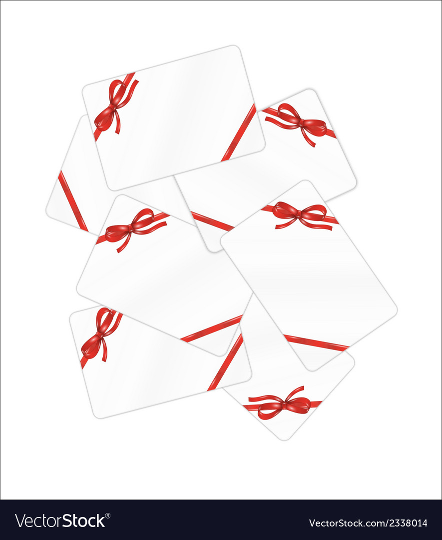 Mess of white gift cards with red ribbon and bow vector | Price: 1 Credit (USD $1)