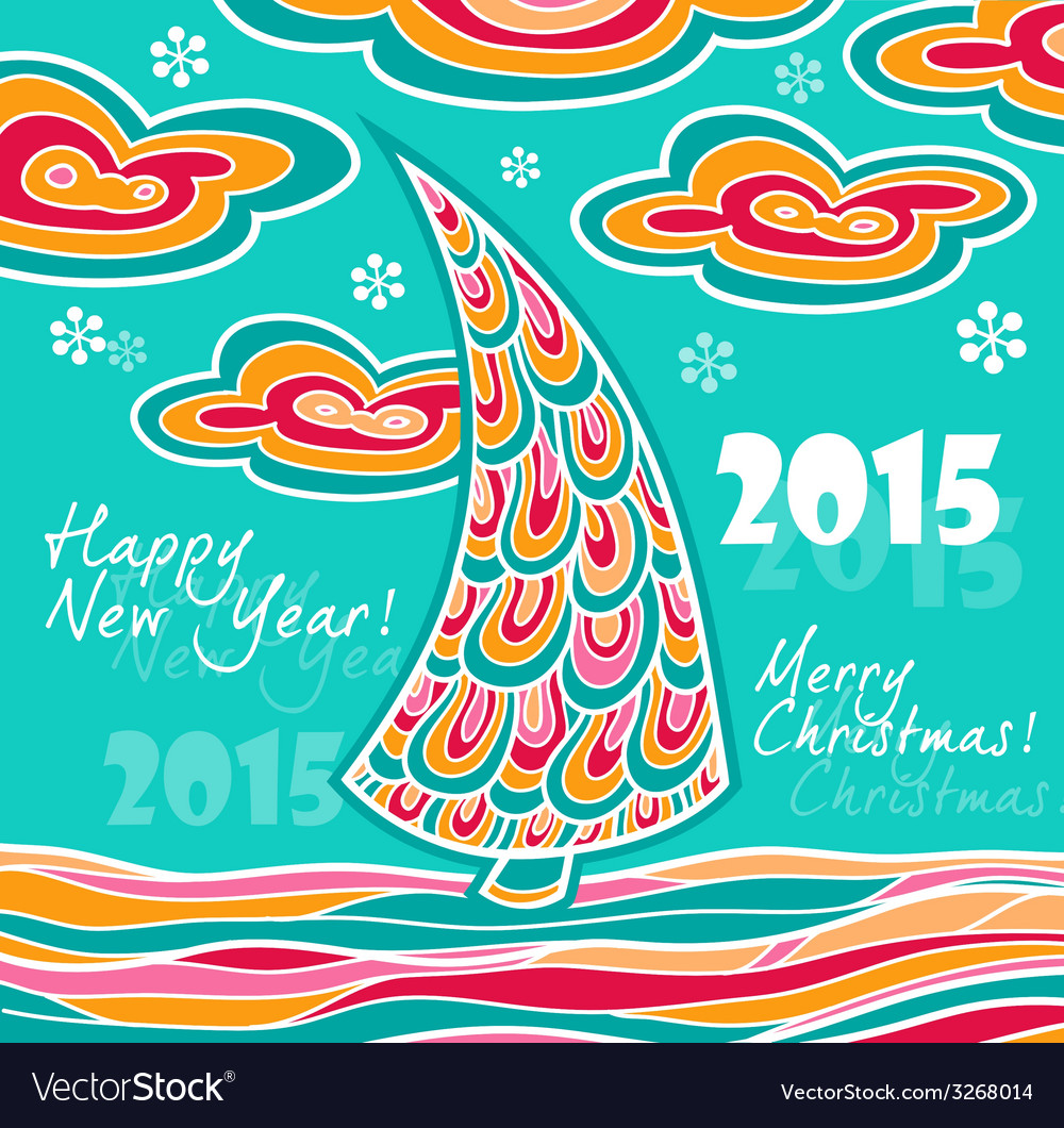 New year greeting card 2015 with christmas vector | Price: 1 Credit (USD $1)