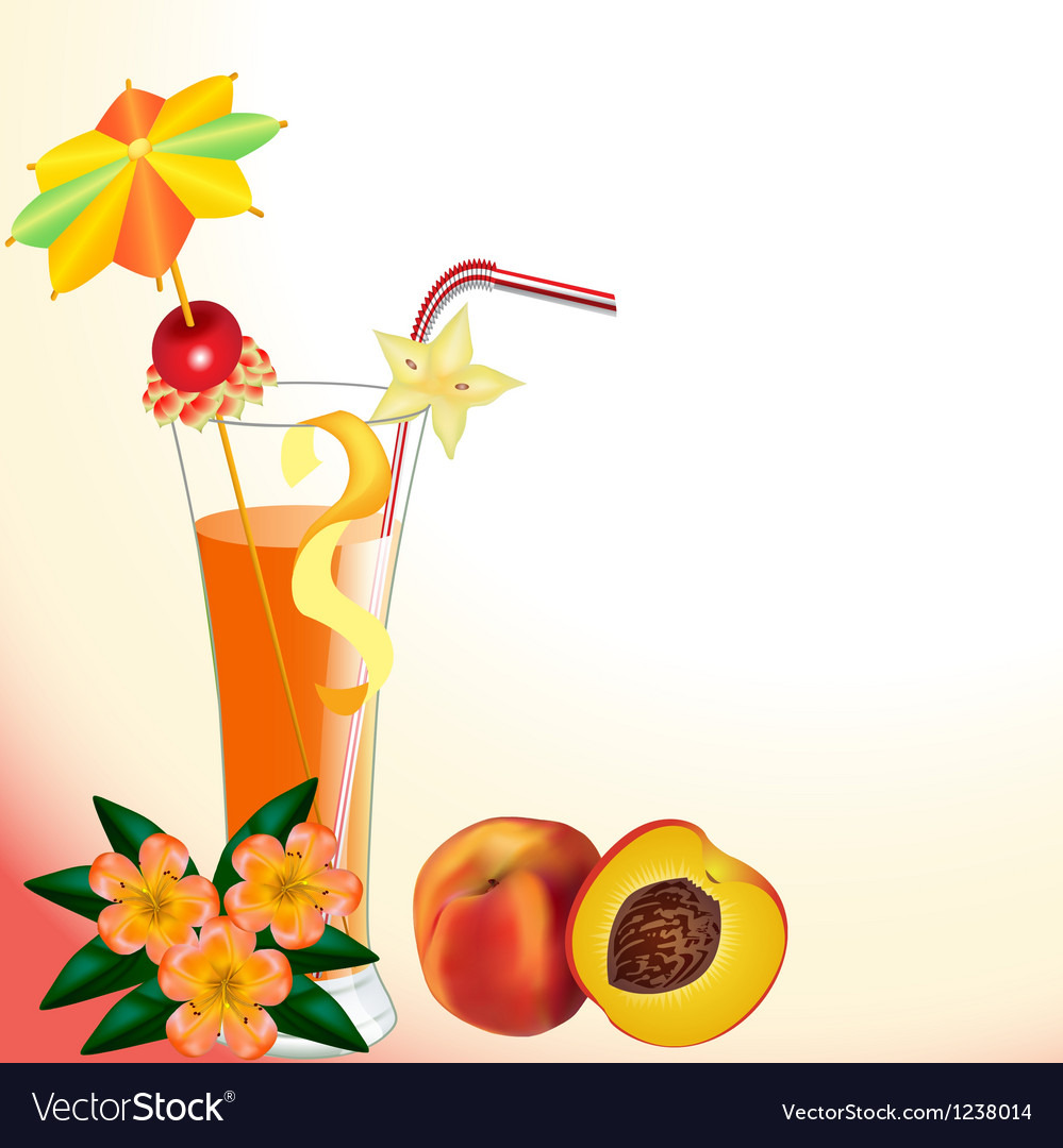Peach juice in a glass with a flower vector | Price: 3 Credit (USD $3)