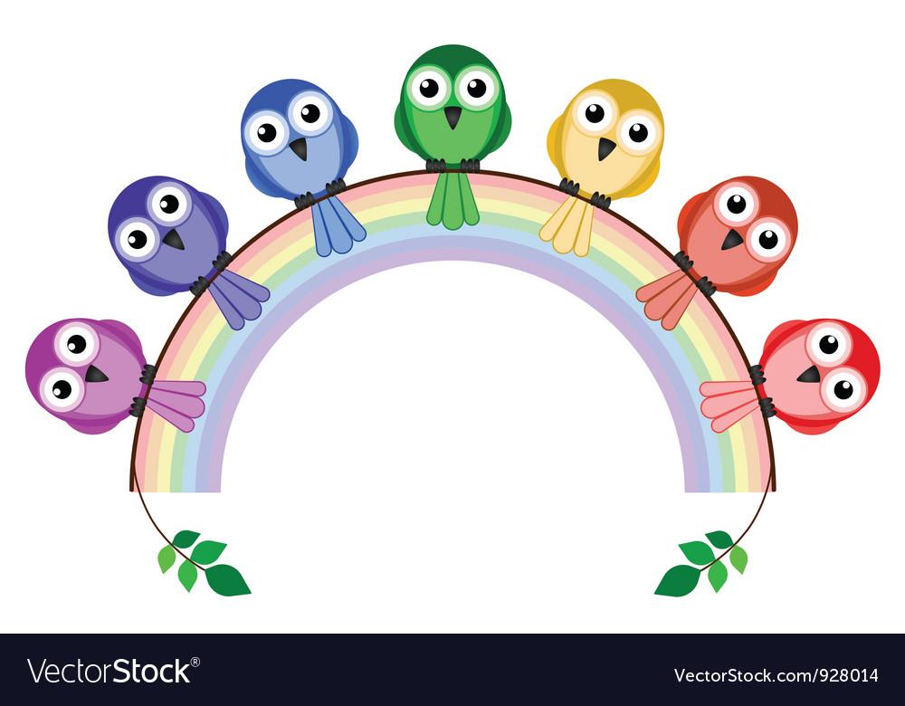 Rainbow birds vector | Price: 1 Credit (USD $1)
