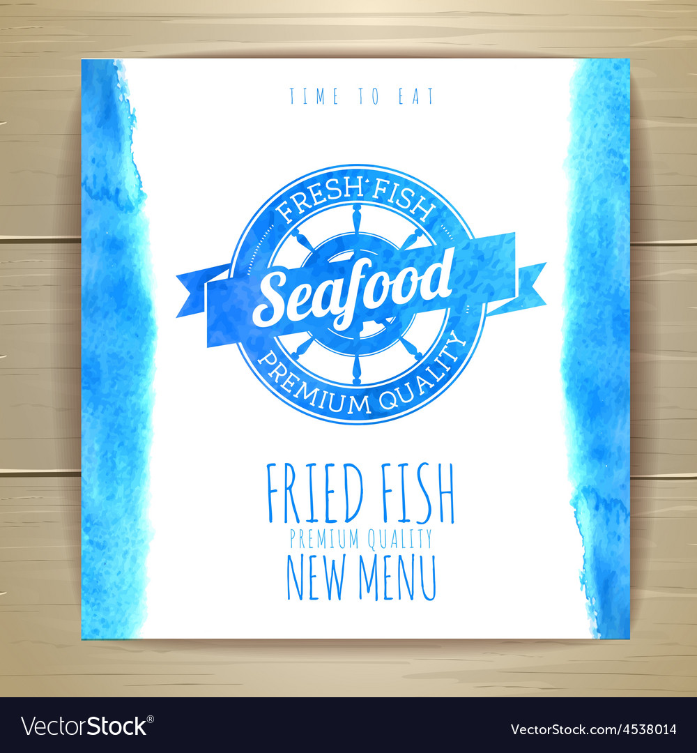 Seafood menu design with fish document template vector | Price: 1 Credit (USD $1)
