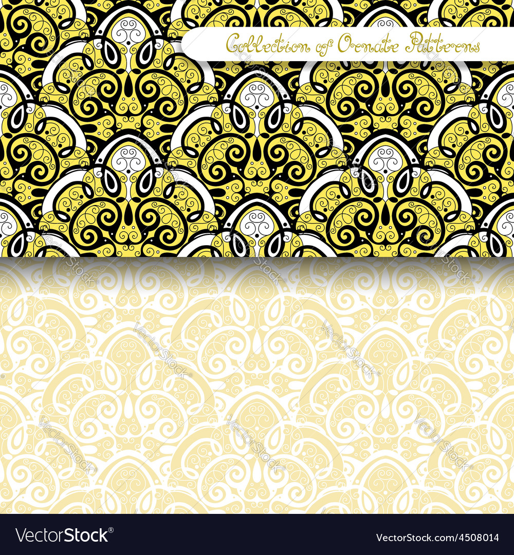 Set of 2 seamless vintage patterns vector | Price: 1 Credit (USD $1)