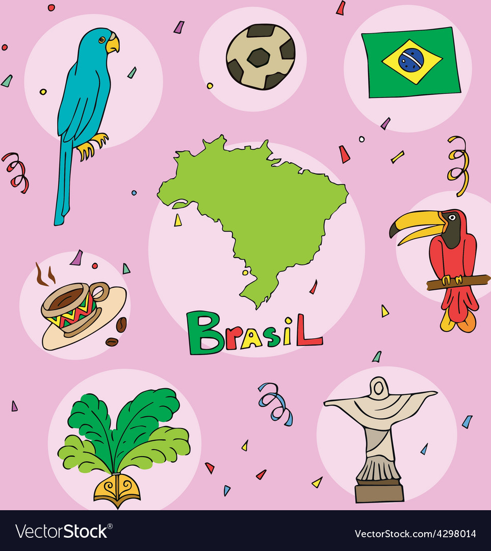 Set of national profile of the brasil vector | Price: 1 Credit (USD $1)