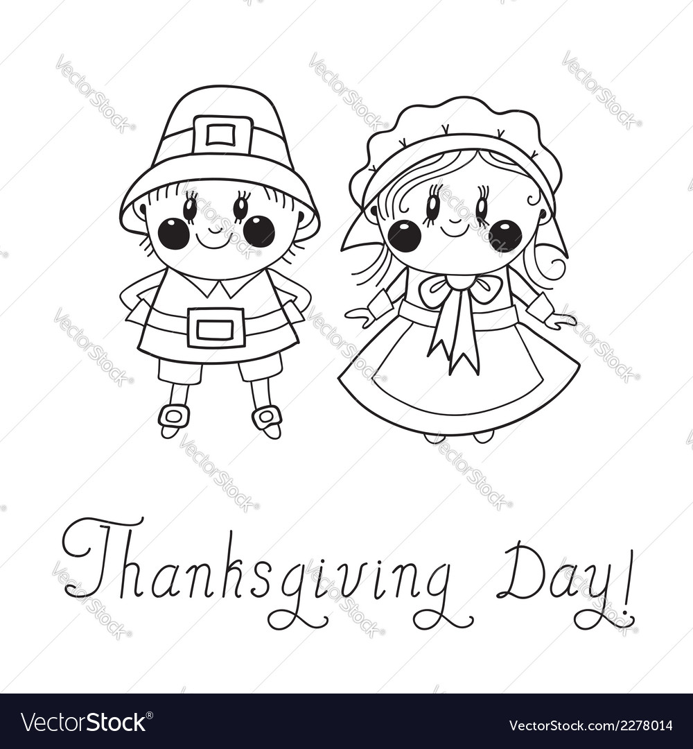 Thanksgiving day children pilgrim couple vector | Price: 1 Credit (USD $1)
