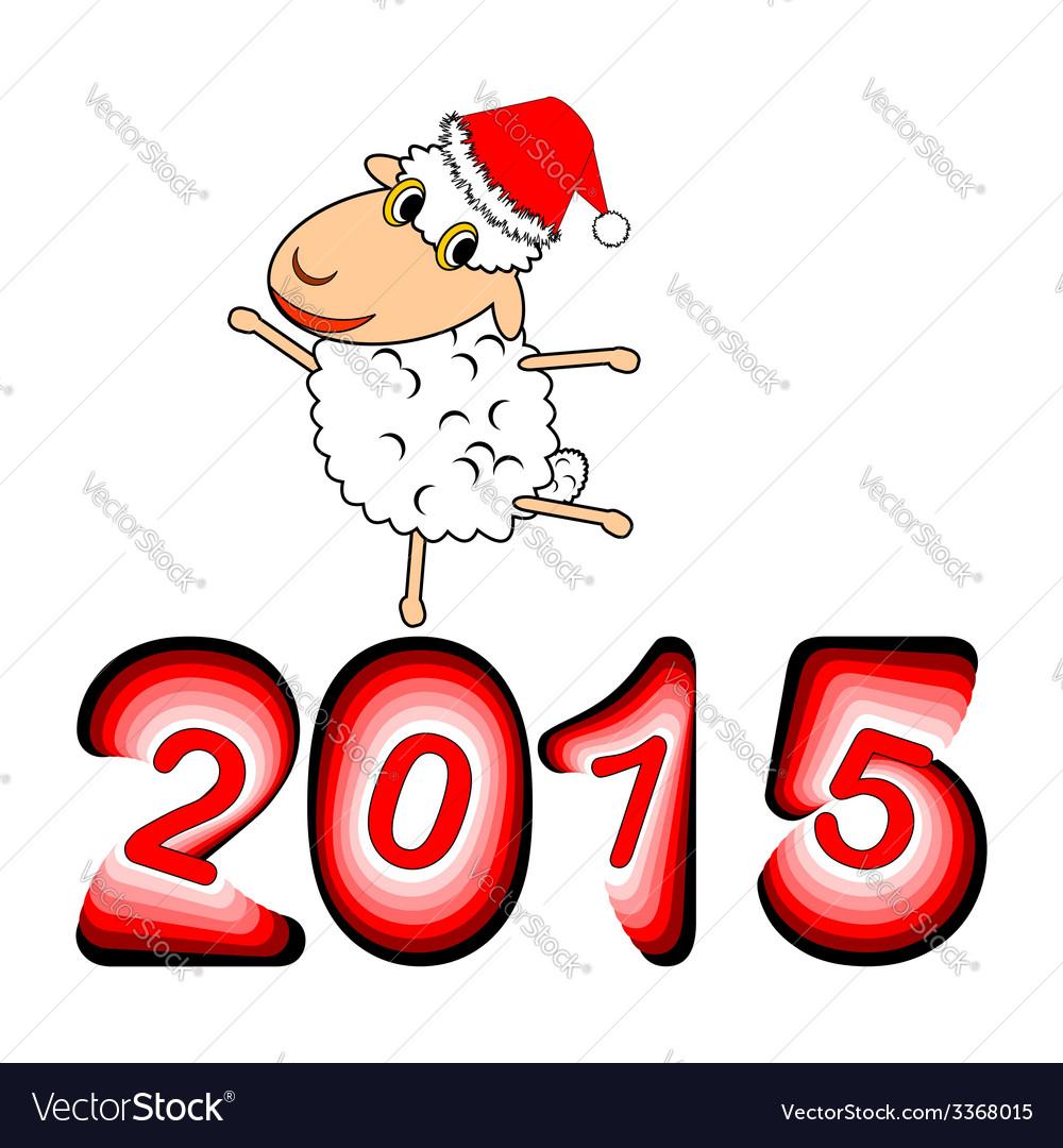 A funny christmas cartoon sheep vector | Price: 1 Credit (USD $1)