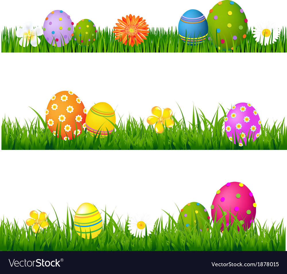 Big green grass set with flowers and easter eggs vector | Price: 1 Credit (USD $1)
