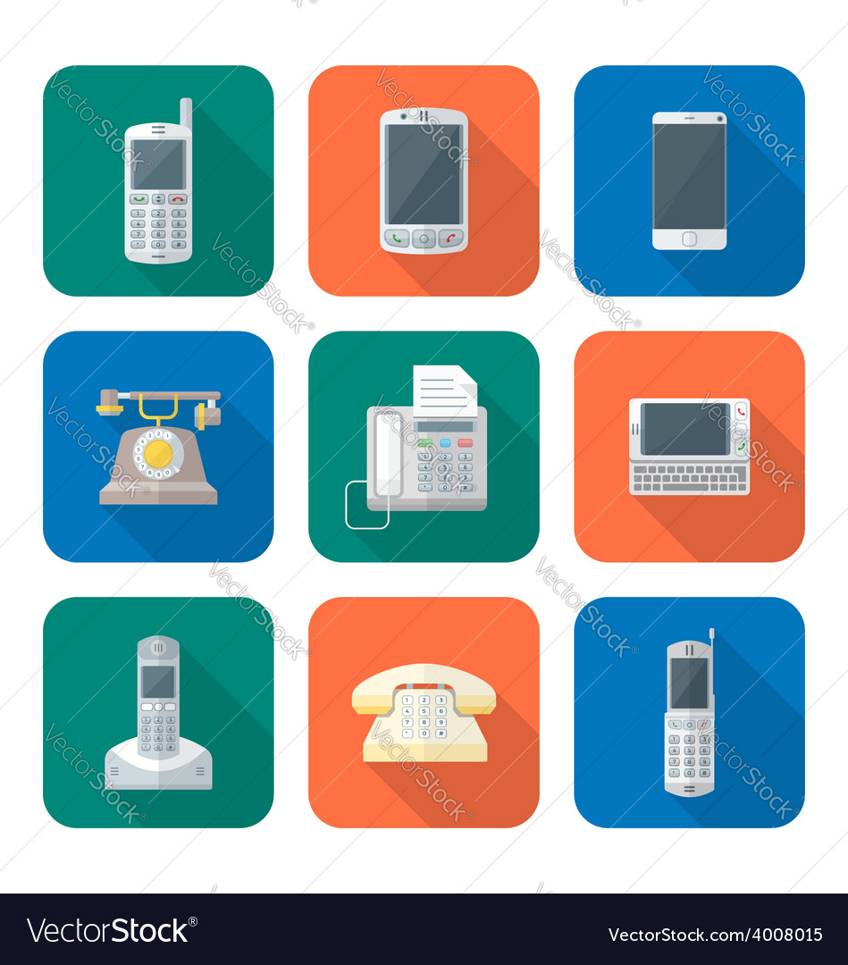 Colored flat style various phone devices icons set vector | Price: 1 Credit (USD $1)