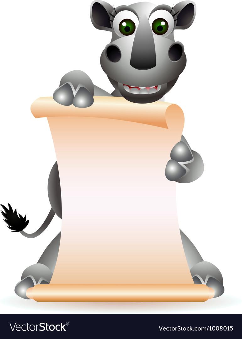 Cute rhino cartoon with blank sign vector | Price: 3 Credit (USD $3)