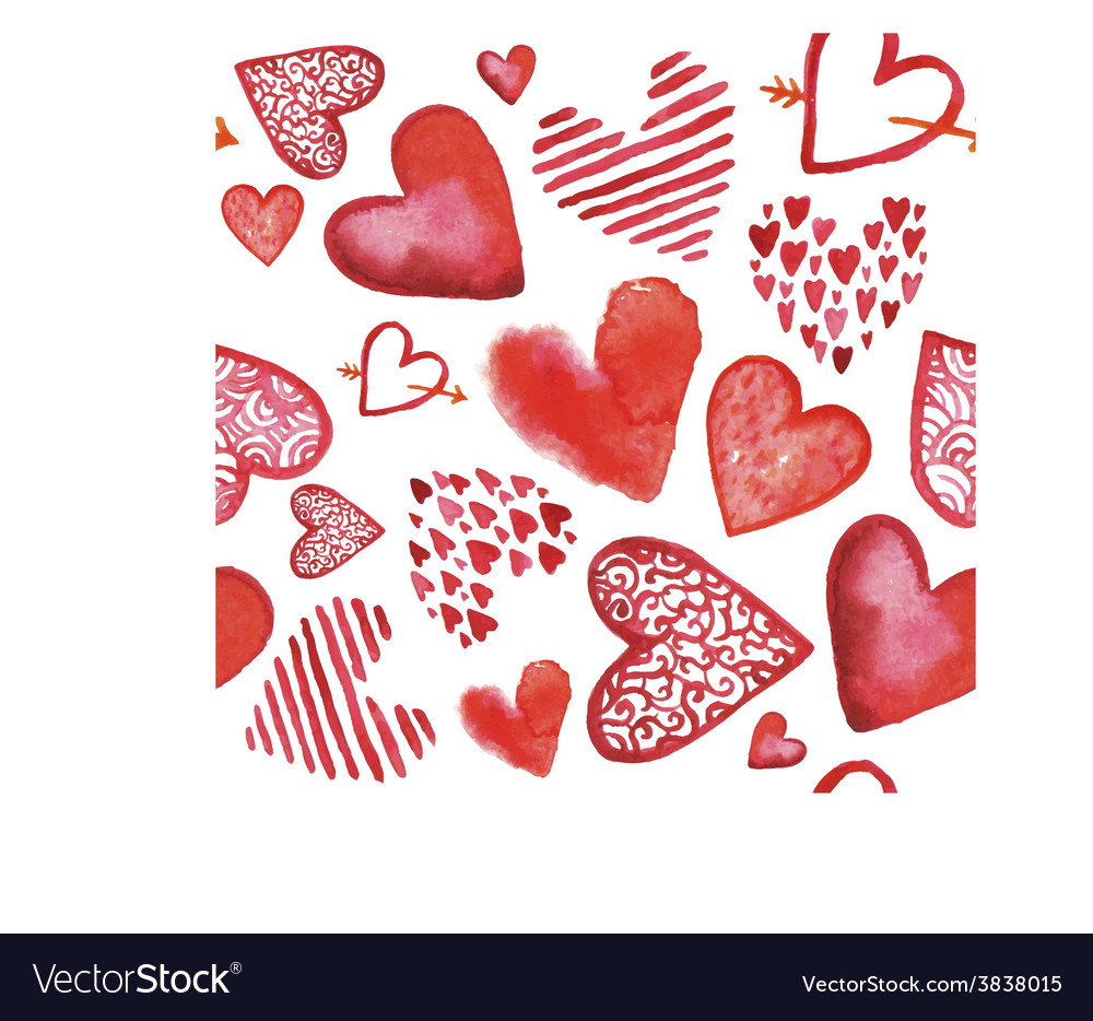 Hand drawn painted watercolor red hearts vector | Price: 1 Credit (USD $1)