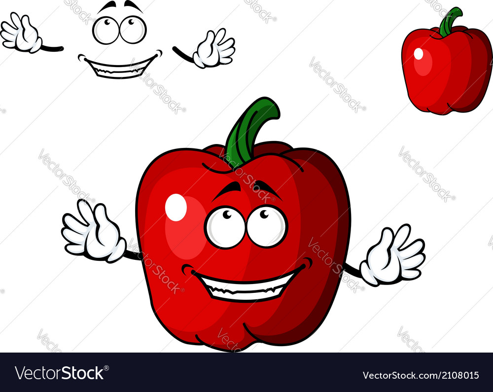 Happy red cartoon sweet bell pepper vegetable vector | Price: 1 Credit (USD $1)