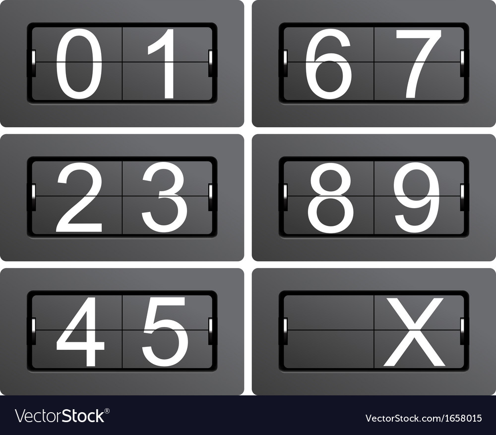 Numeric series 0 to 9 from mechanical scoreboard vector | Price: 1 Credit (USD $1)