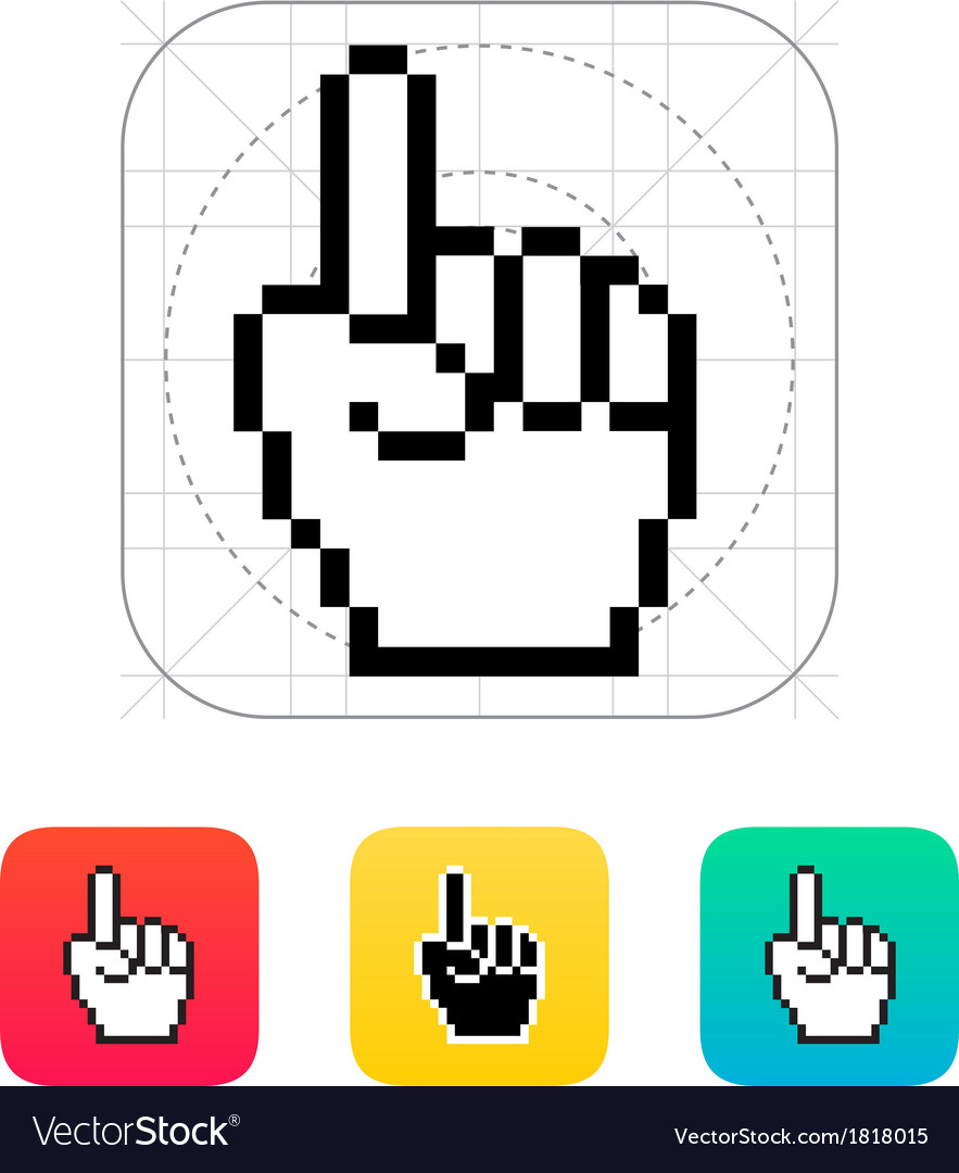 One finger pixel hand cursor icon vector | Price: 1 Credit (USD $1)