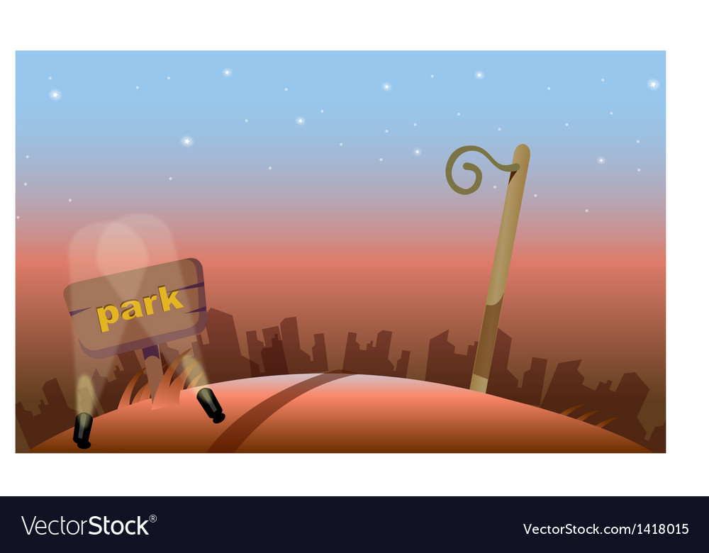 Park sign board at night vector | Price: 1 Credit (USD $1)