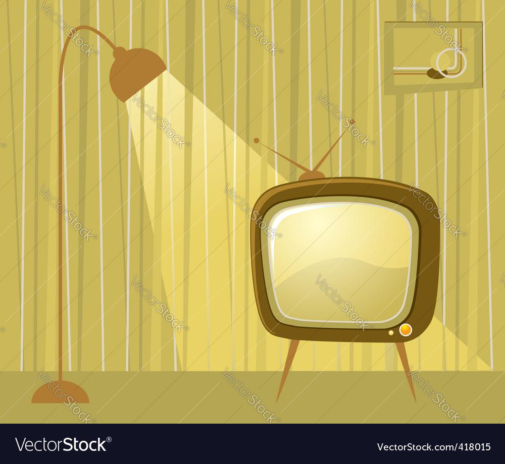 Retro tv room vector | Price: 1 Credit (USD $1)