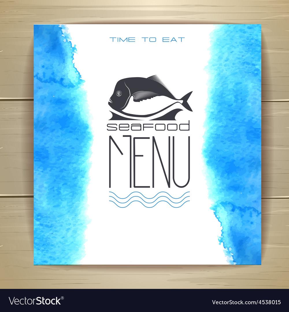 Seafood menu design with fish vector | Price: 1 Credit (USD $1)
