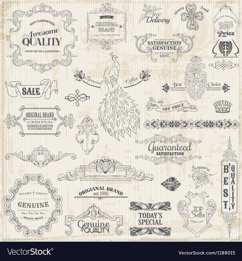 Set calligraphic design elements vector | Price: 1 Credit (USD $1)