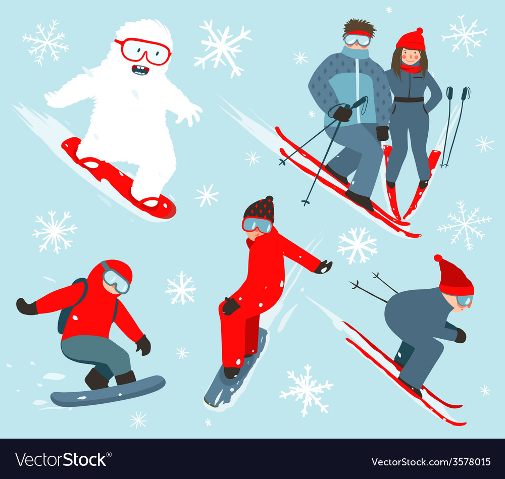 Skier and snowboarder winter sport collection vector | Price: 1 Credit (USD $1)
