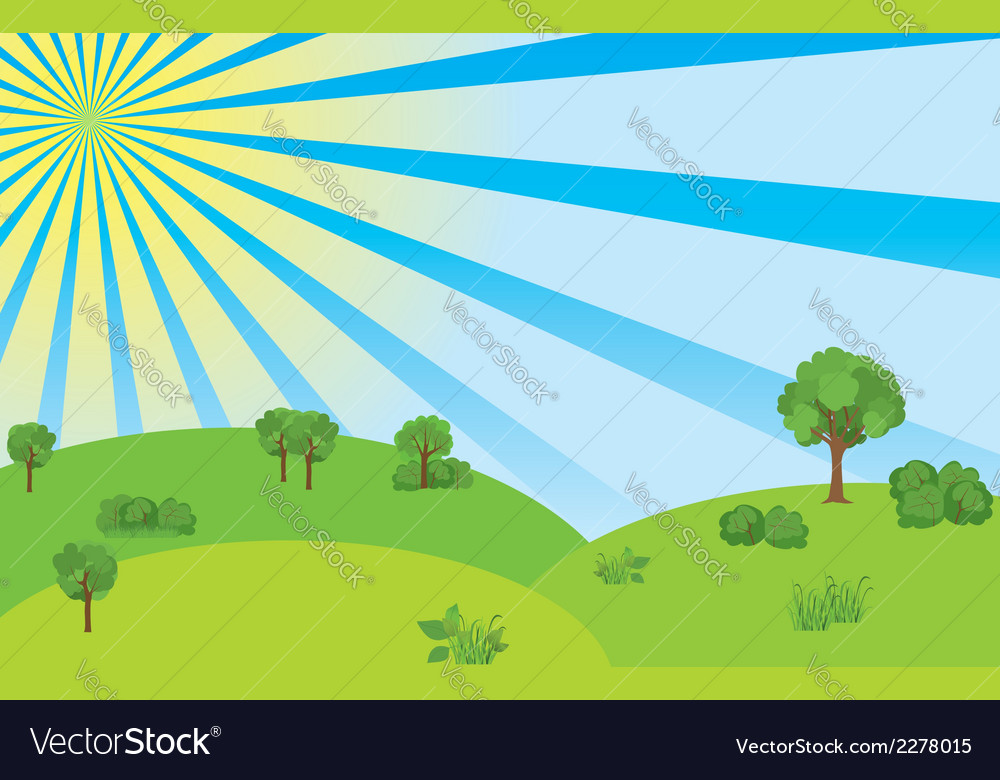 Summer landscape with blue sky and sunshine vector | Price: 1 Credit (USD $1)