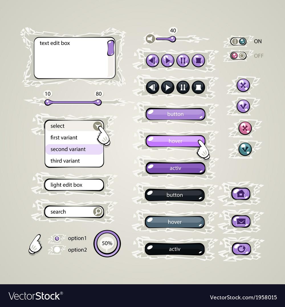 Web design elements violet vector | Price: 1 Credit (USD $1)
