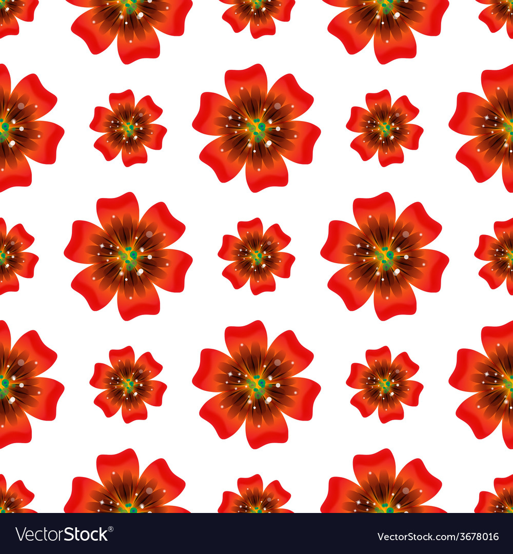 Beautiful orange flower seamless floral pattern vector | Price: 1 Credit (USD $1)