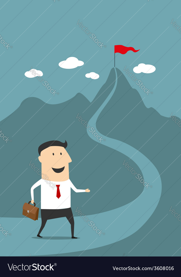 Cartoon businessman moving to the top of success vector | Price: 1 Credit (USD $1)