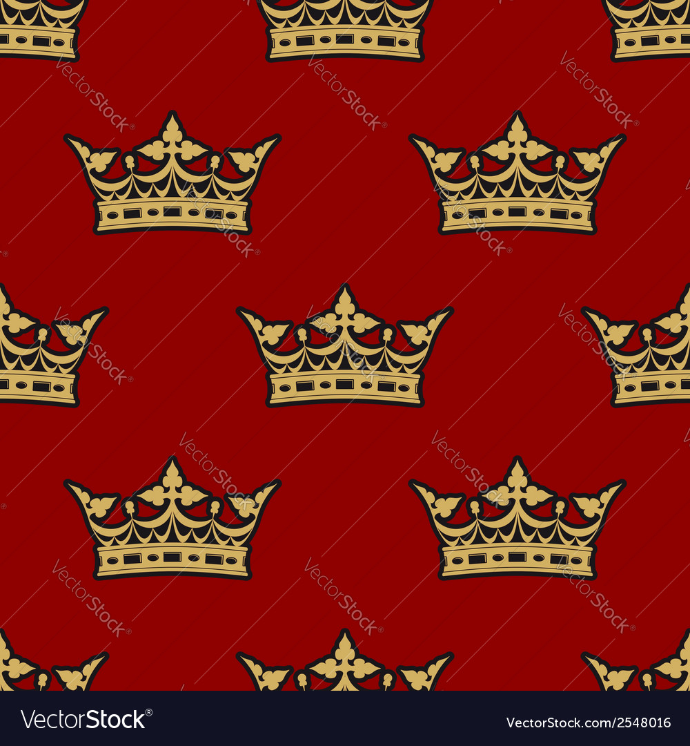 Golden crown seamless background pattern vector | Price: 1 Credit (USD $1)