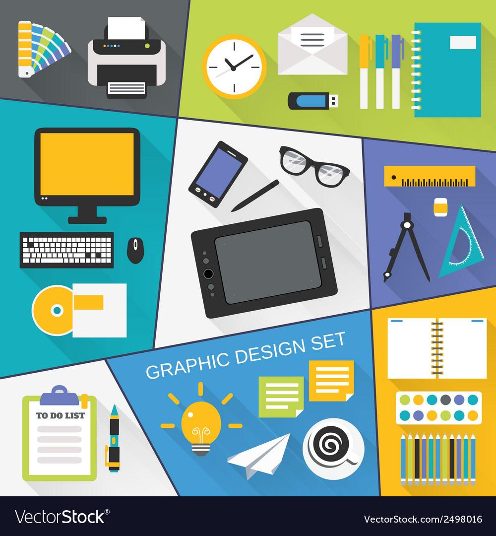 Graphic design flat set vector | Price: 1 Credit (USD $1)