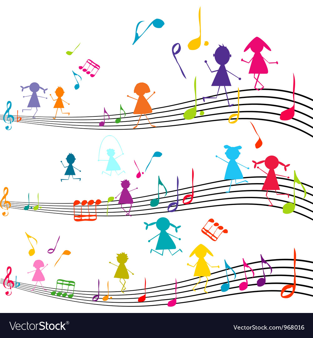 Music note with kids vector | Price: 1 Credit (USD $1)