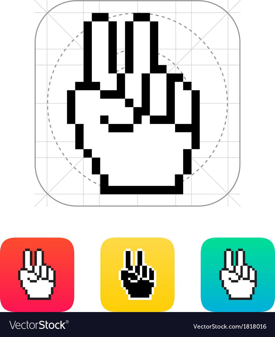 Pixel victory hand icon vector | Price: 1 Credit (USD $1)