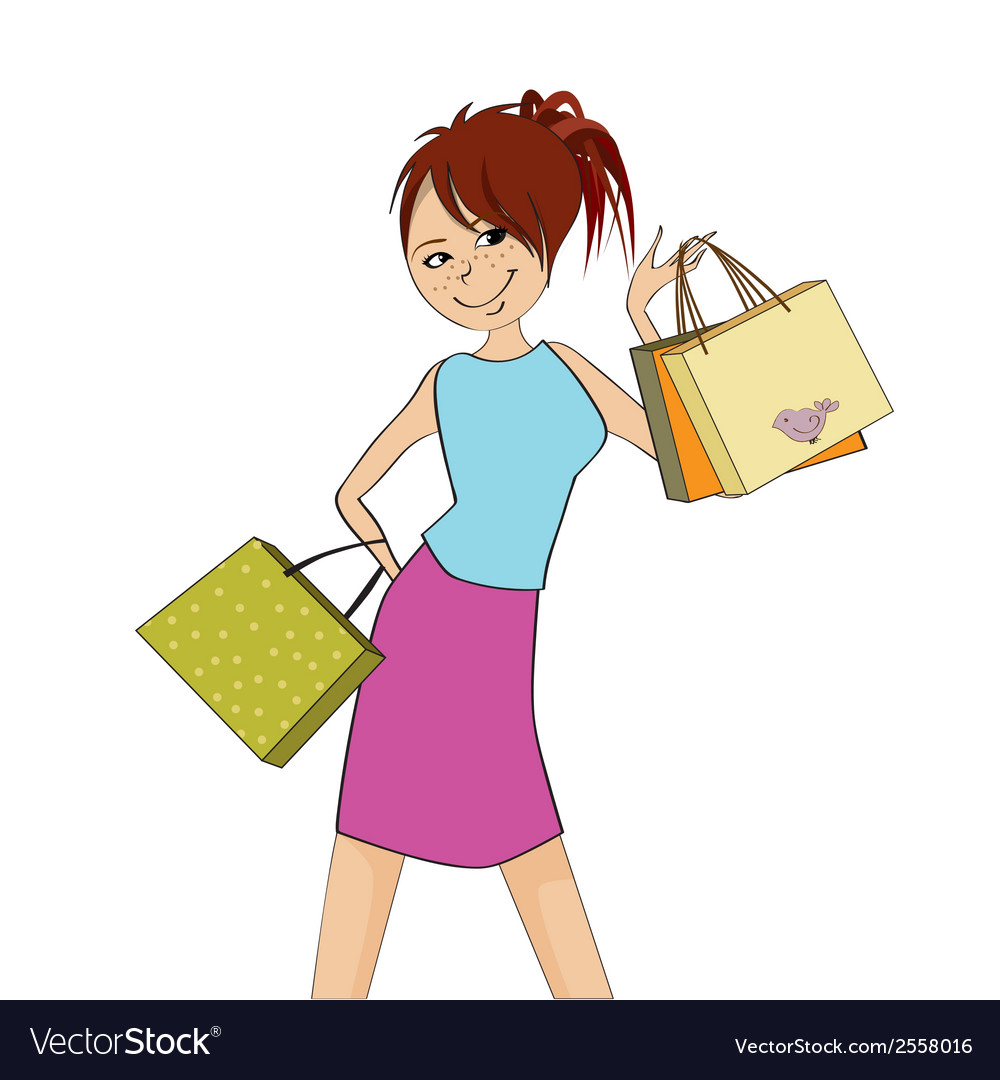 Pretty girl at shopping vector | Price: 1 Credit (USD $1)