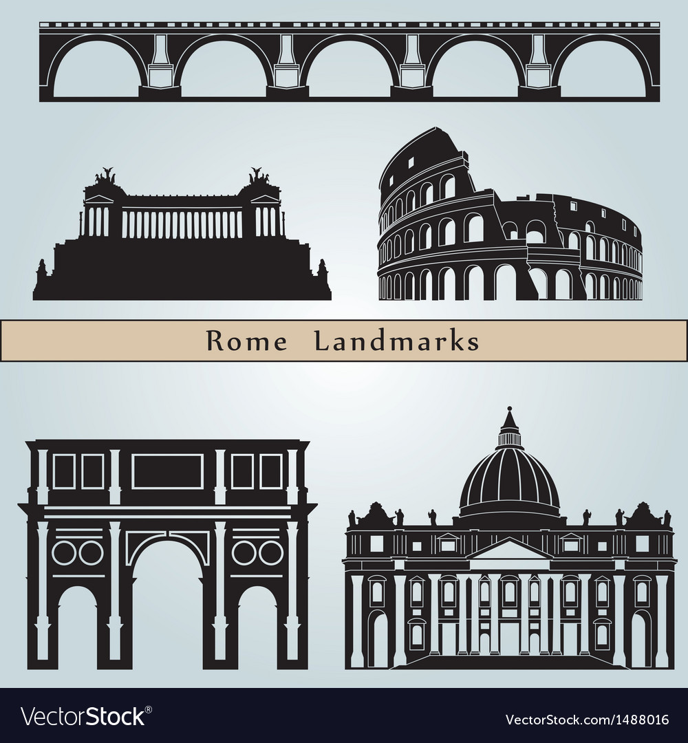 Rome landmarks and monuments vector | Price: 1 Credit (USD $1)