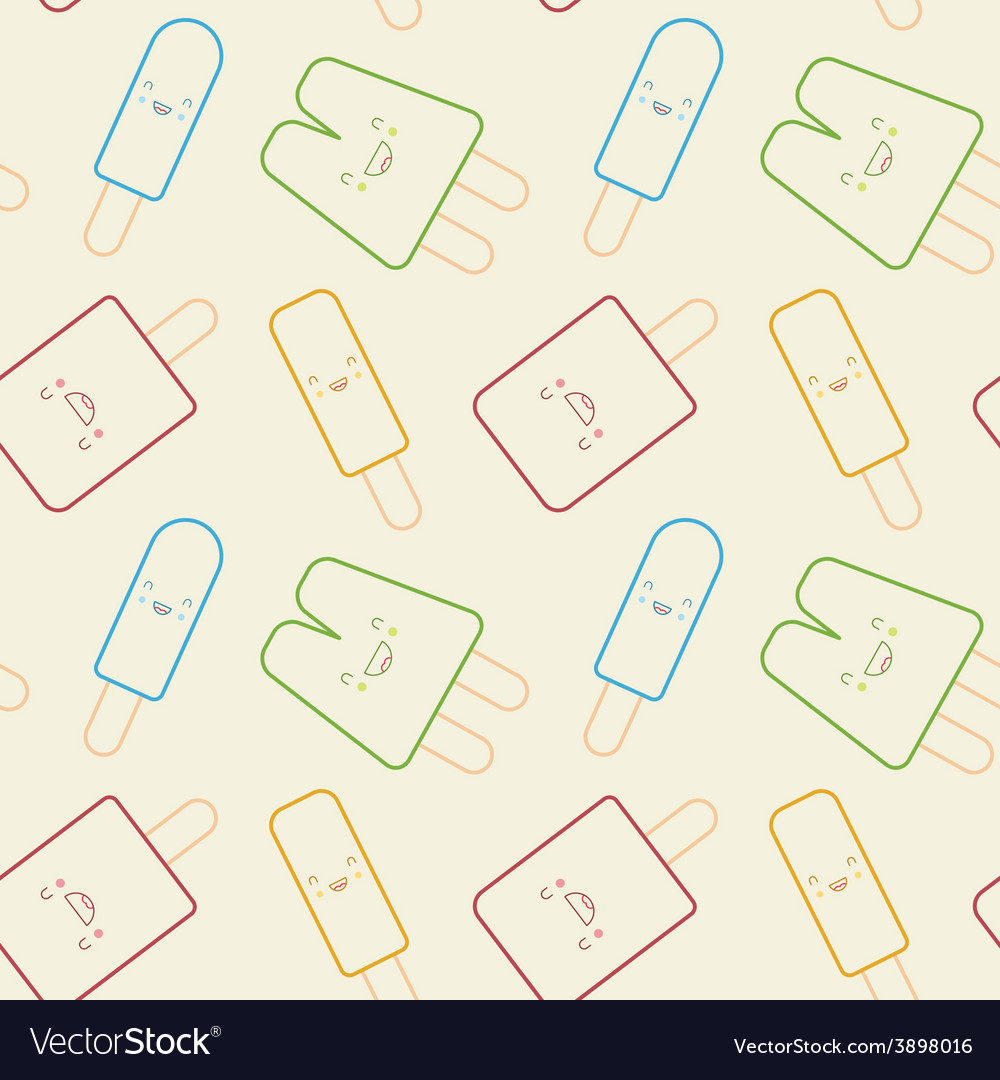Seamless pattern - cute popsicles vector   Price: 1 Credit (USD $1)