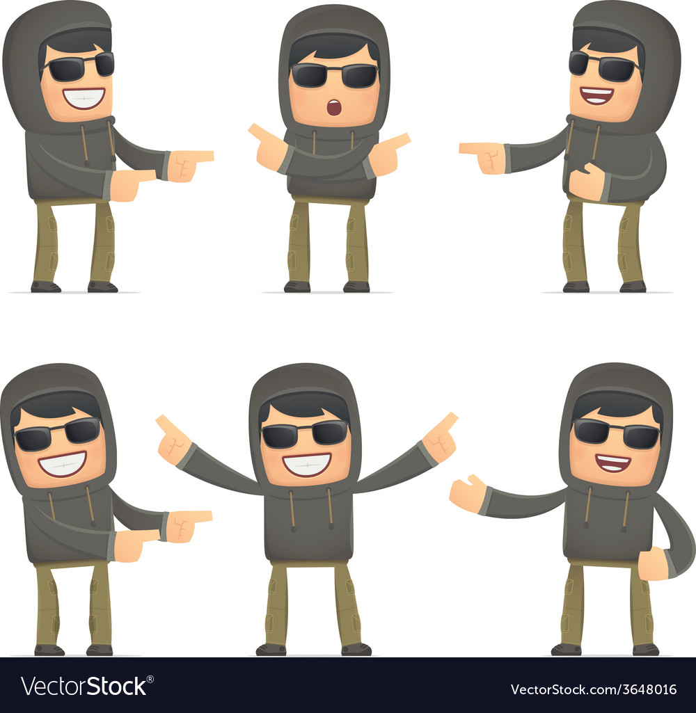 Set of hacker character in different poses vector | Price: 1 Credit (USD $1)