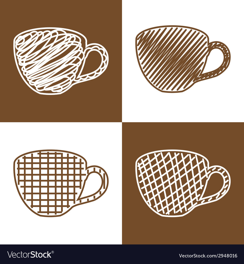 Set of hand drawn cups vector | Price: 1 Credit (USD $1)