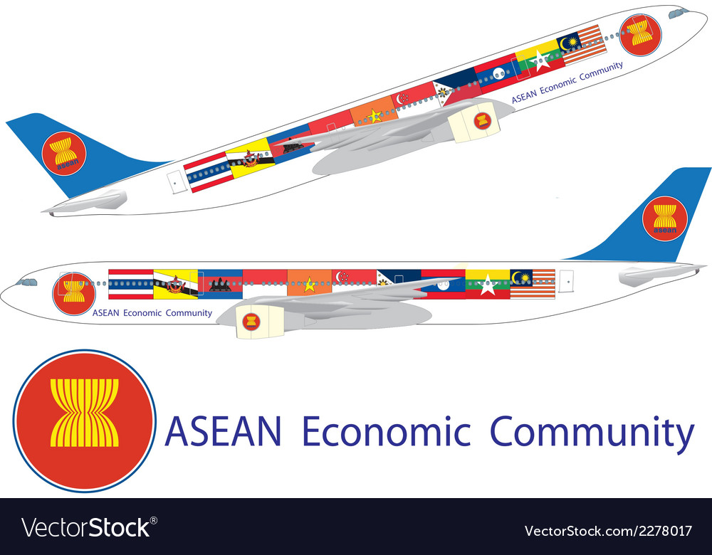 Asean economic community on airbus a330 vector | Price: 1 Credit (USD $1)