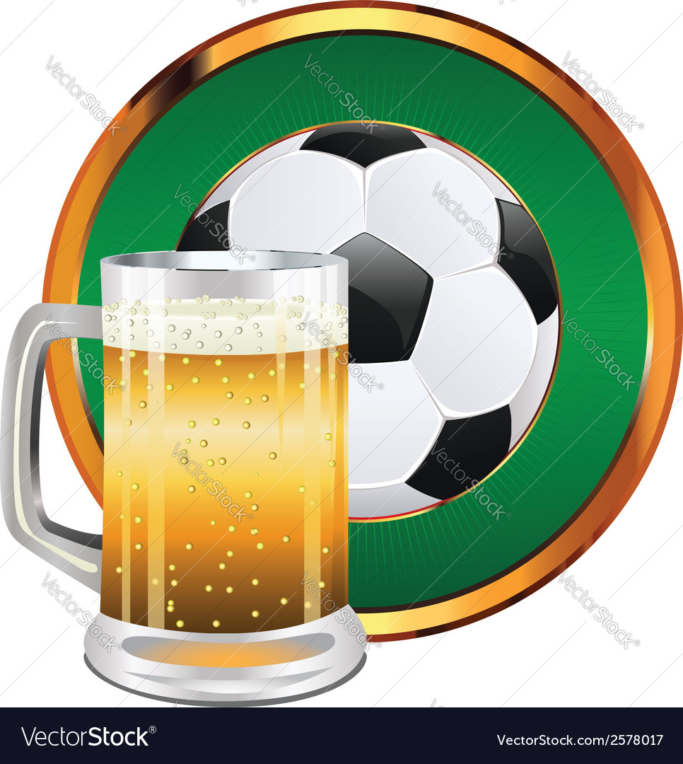 Beer and soccer ball4 vector | Price: 1 Credit (USD $1)
