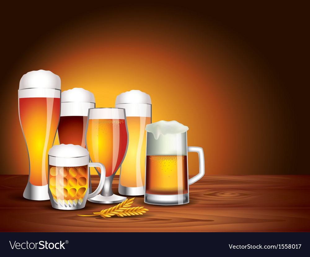 Beer jars background vector | Price: 1 Credit (USD $1)