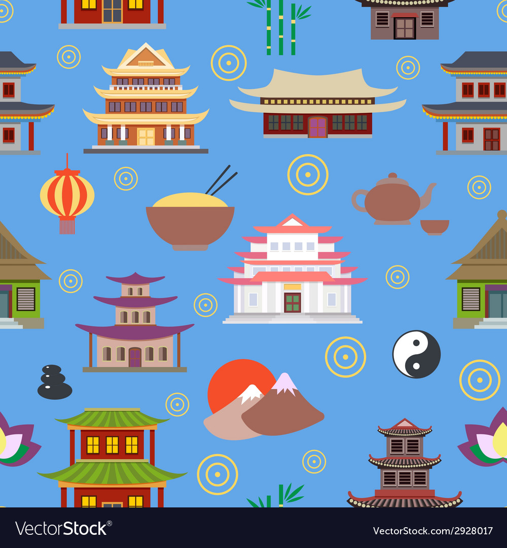 Chinese house seamless pattern vector | Price: 1 Credit (USD $1)