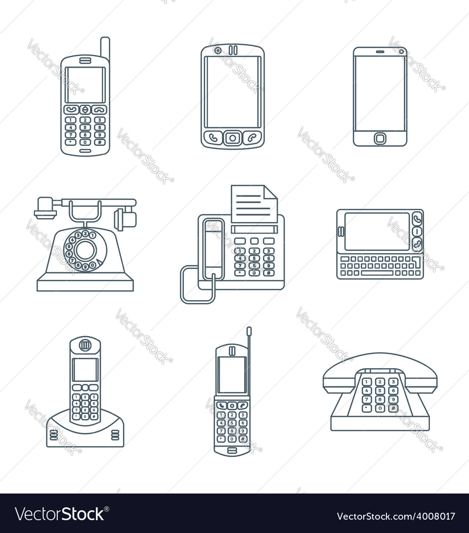Dark outline various phone devices icons set vector | Price: 1 Credit (USD $1)